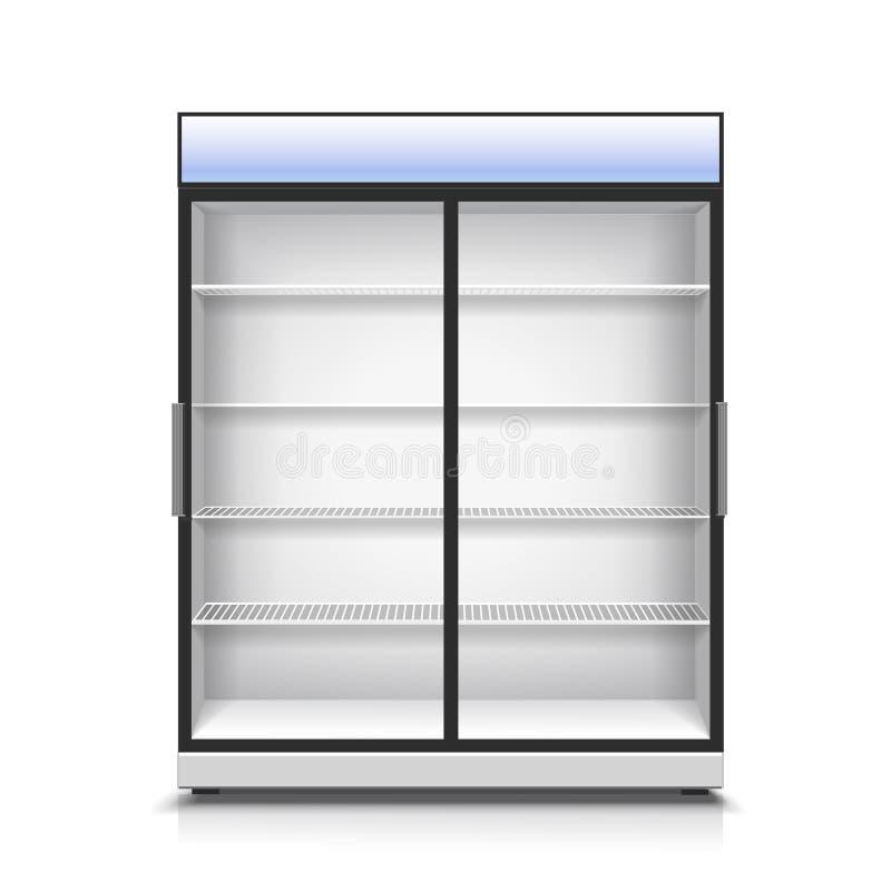 Esvazie o refrigerador vertical para com dois painel frontais transparentes ilustração do vetor