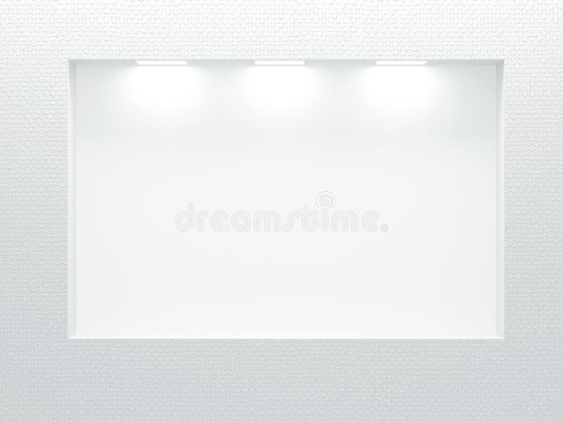 Esvazie o showcase iluminado na parede branca. ilustração royalty free
