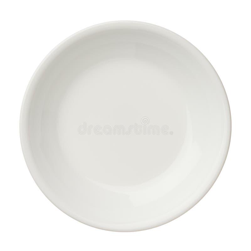 Esvazie a placa limpa isolada no fundo branco, vista superior fotos de stock royalty free