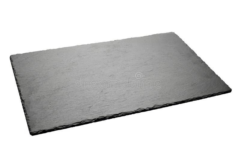 Esvazie a placa preta da ardósia isolada no fundo branco imagem de stock royalty free