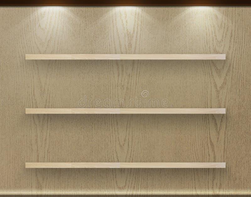 Esvazie a prateleira da madeira três na parede decorativa de madeira fotografia de stock