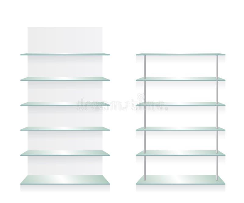 Esvazie prateleiras do vidro da loja ilustração royalty free