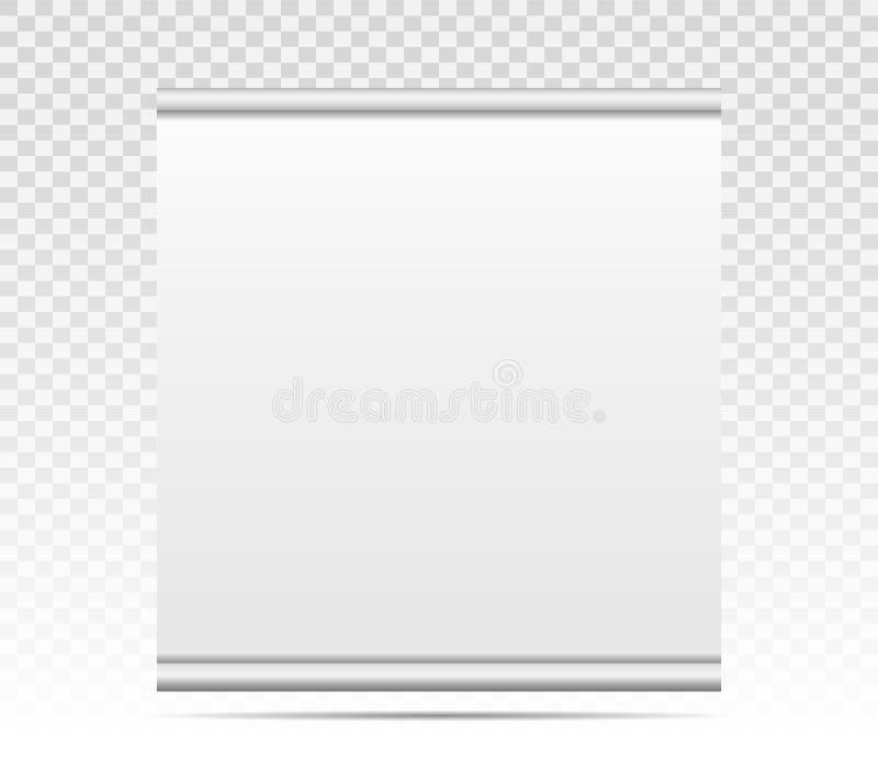 Esvazie rolam acima a bandeira com textura de papel da lona isolada no fundo transparente Modelo do molde da placa do projeto da  ilustração royalty free