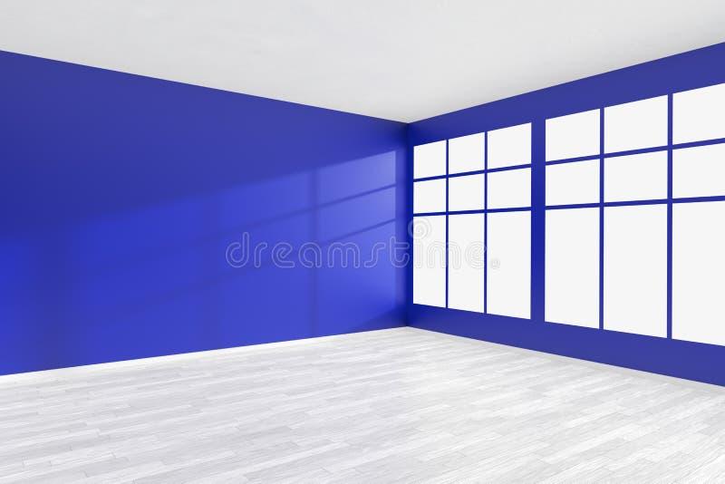 Esvazie a sala azul com janela grande e o assoalho branco ilustração do vetor