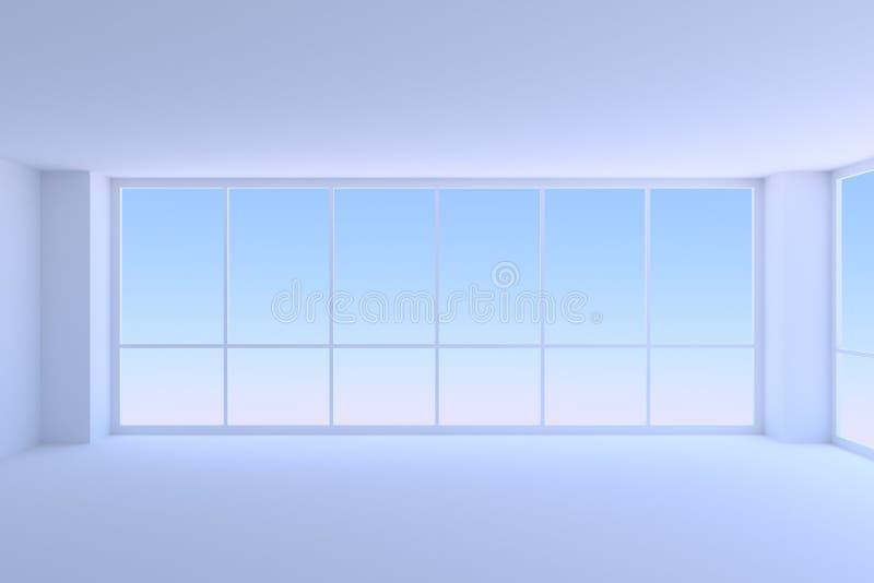 Esvazie a sala azul do escritório para negócios com close up de duas o grande janelas ilustração do vetor