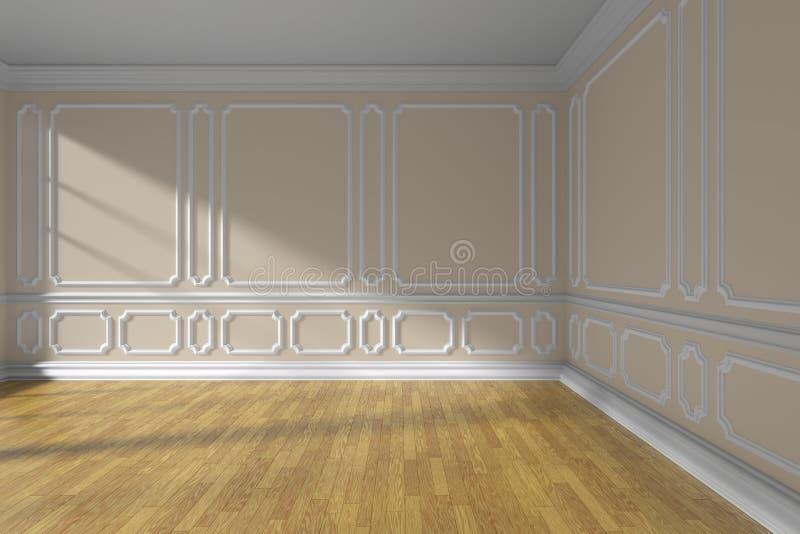 Esvazie a sala bege com o assoalho do molde e de parquet ilustração stock