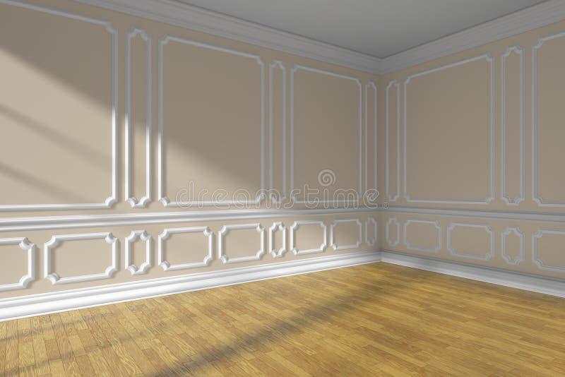 Esvazie a sala bege com o close up do assoalho do molde e de parquet ilustração do vetor