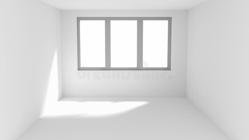 Esvazie a sala branca com o ponto do sol na parede e no assoalho ilustração royalty free