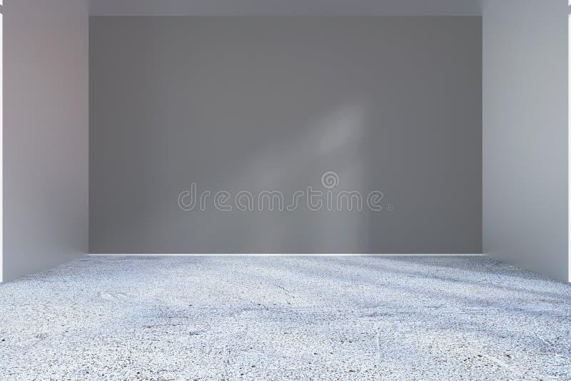 Esvazie a sala brilhante do escritório com raio claro na parede rendição 3d ilustração do vetor