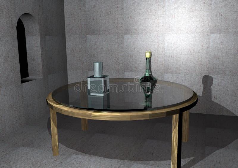 Esvazie a sala histórica com uma tabela de vidro velha fotografia de stock