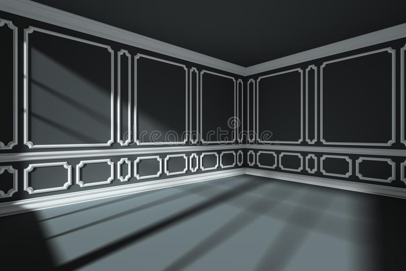 Esvazie a sala preta com a decoração clássica branca do estilo nas paredes largamente ilustração do vetor