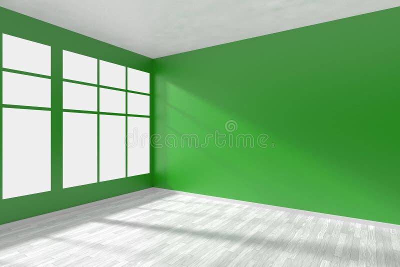 Esvazie a sala verde com janela e o assoalho branco ilustração do vetor