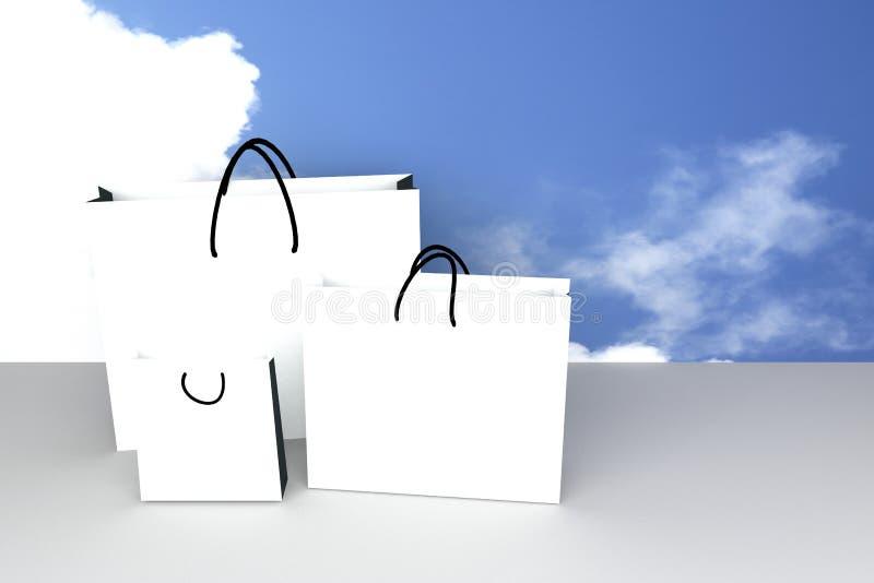 Esvazie um tamanho três do saco de compras do Livro Branco para o produto de anúncio ou de marcagem com ferro quente, fundo do cé ilustração do vetor