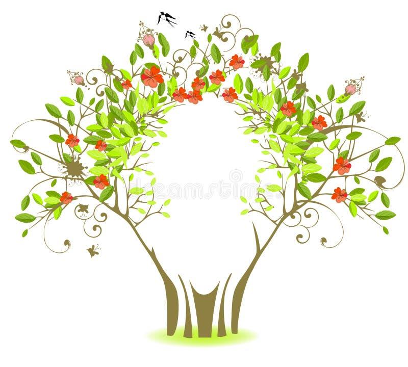 Esverdeie a árvore com flores vermelhas ilustração royalty free