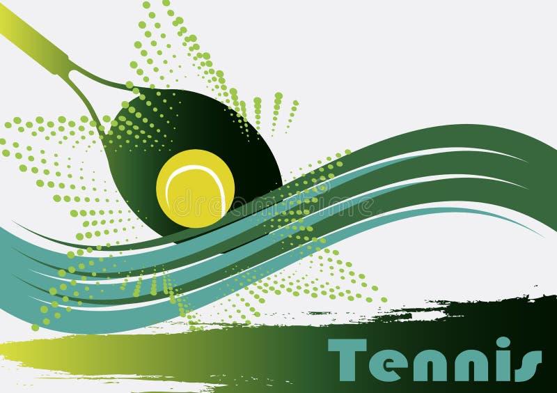 Esverdeie a corte de tênis ilustração stock