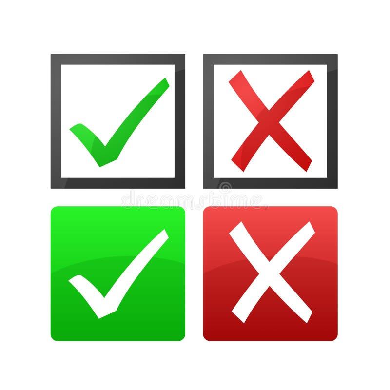Verifique e cruze marcas ilustração stock