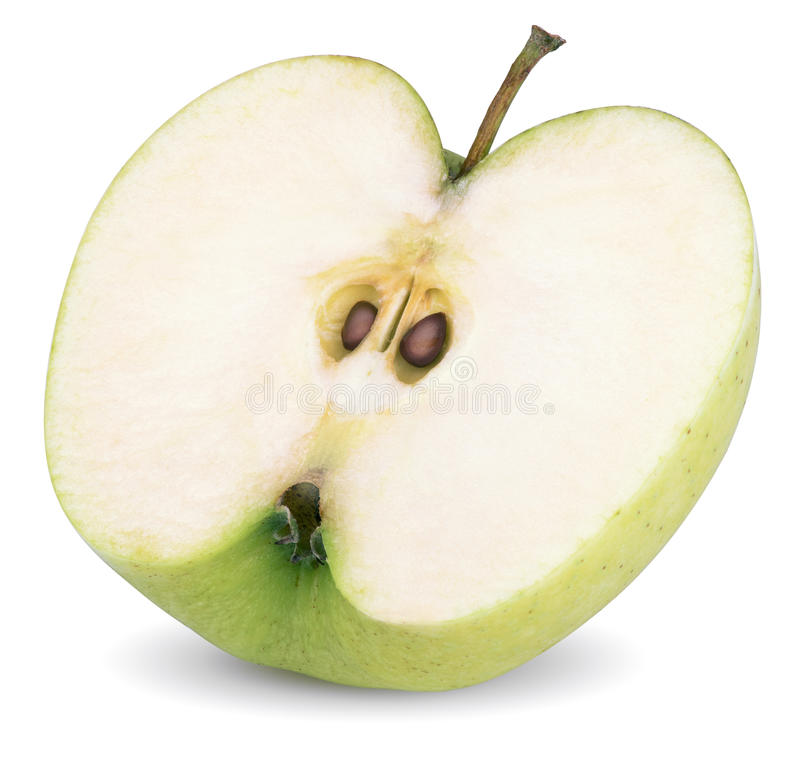 Esverdeie a metade da maçã fotos de stock