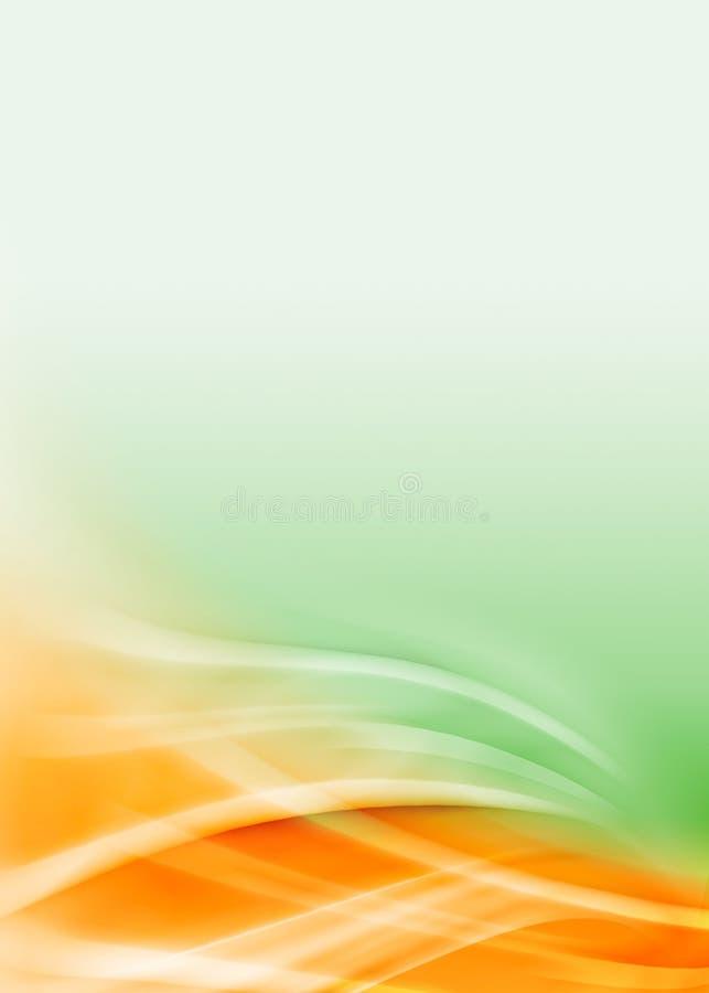 Esverdeie o fluxo abstrato alaranjado ilustração royalty free
