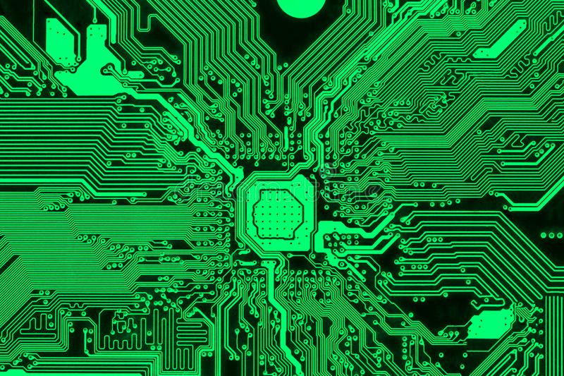 Esverdeie a placa de circuito impresso, projeto moderno do PWB foto de stock