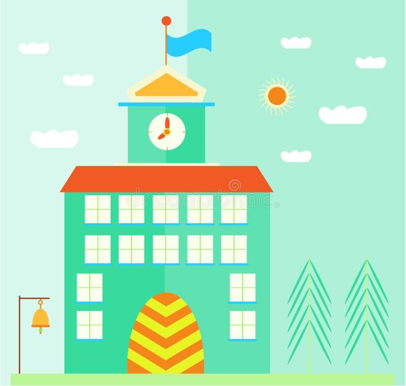 Esverdeie, prédio da escola com bandeira, pulso de disparo, portas ilustração stock