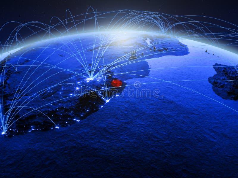 eSwatini op blauwe digitale aarde met internationaal netwerk die mededeling, reis en verbindingen vertegenwoordigen 3d stock foto