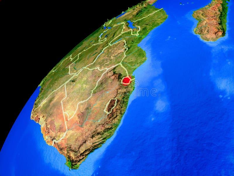 eSwatini ter wereld van ruimte royalty-vrije illustratie