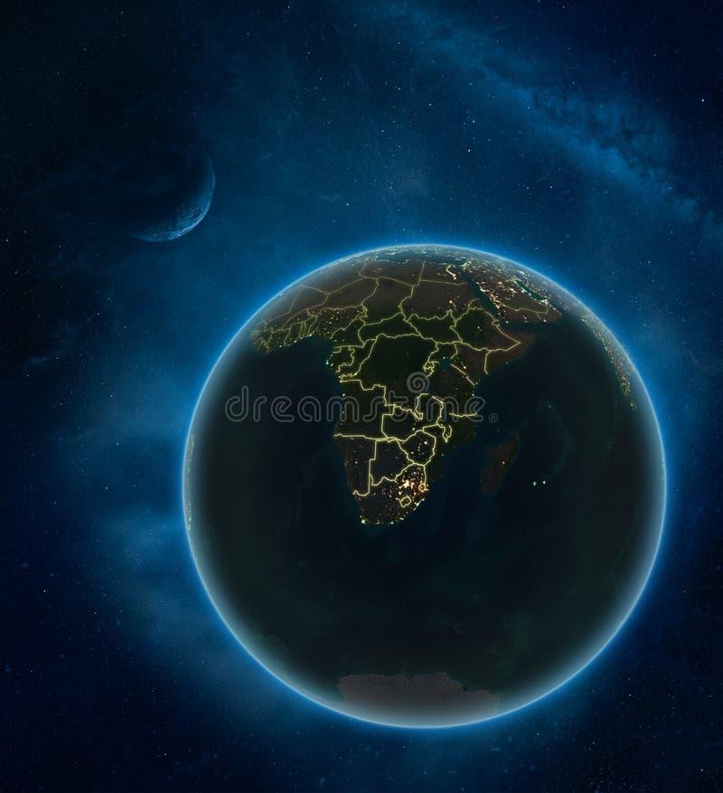 eSwatini van ruimte bij nacht royalty-vrije illustratie