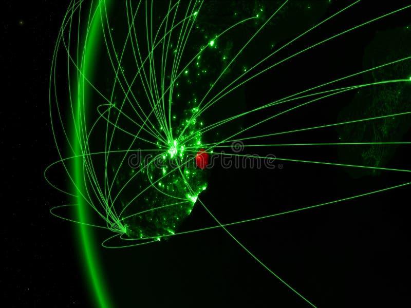 eSwatini van ruimte op groen model van Aarde met internationale netwerken Concept groene mededeling of reis 3D Illustratie stock afbeelding