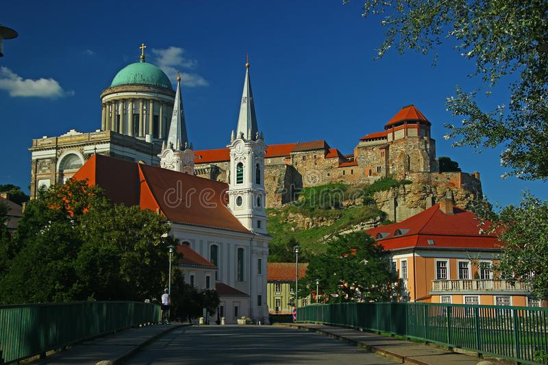 Esztergom Basilica, Castle and Church. Esztergom is one of the oldest towns in Hungary. The winding streets of the town, with its church towers create a stock photos