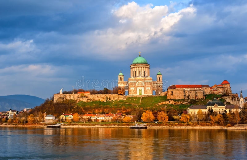 Esztergom Basilica on Danube River, Hungary royalty free stock image