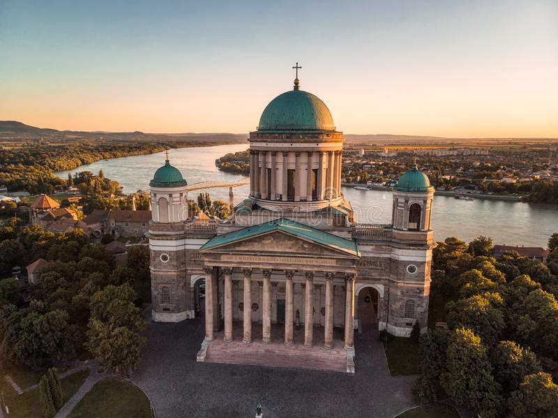 Esztergom basilica at sunset stock photo
