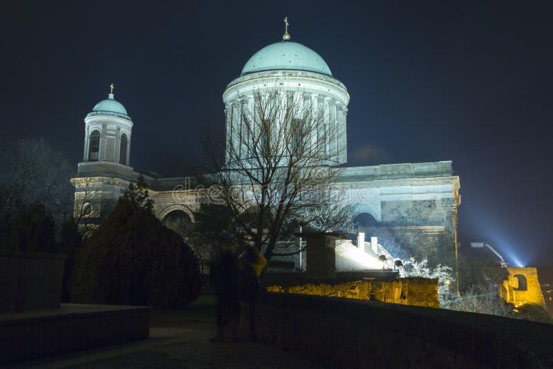 Esztergom Basilica. The Esztergom Basilica on a winter night in Hungary royalty free stock images