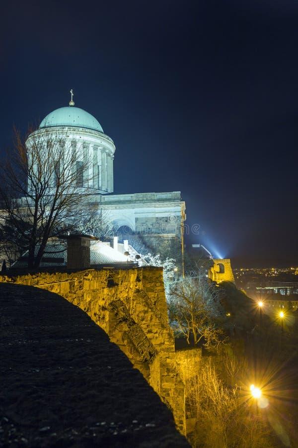 Esztergom Basilica. The Esztergom Basilica on a winter night in Hungary stock photos