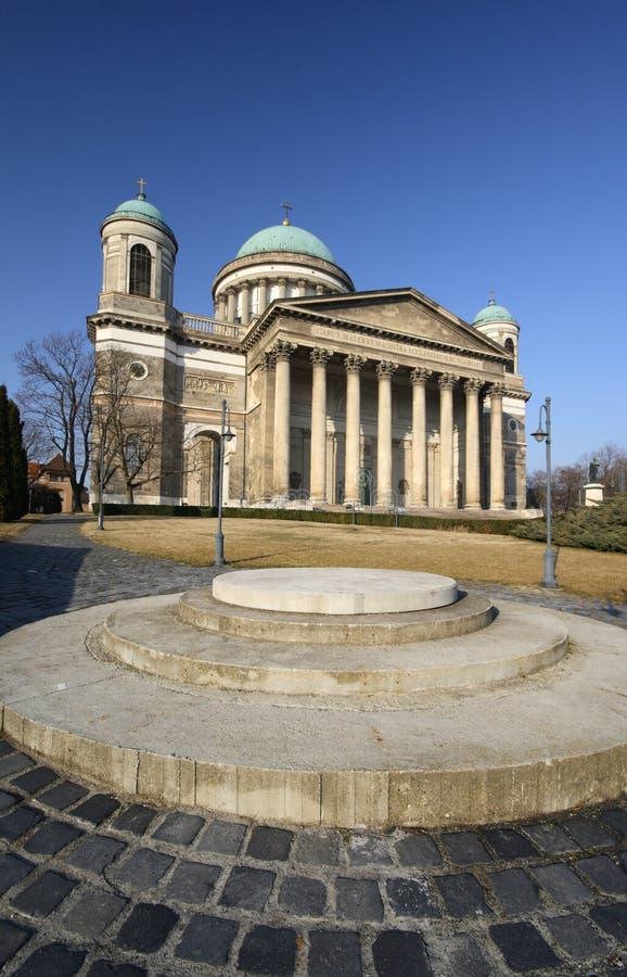 Esztergom Basilica, Hungary - with front garden royalty free stock images