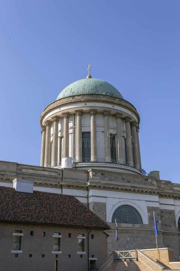 Esztergom Basilica in Hungary on a hot summer day.  stock photography