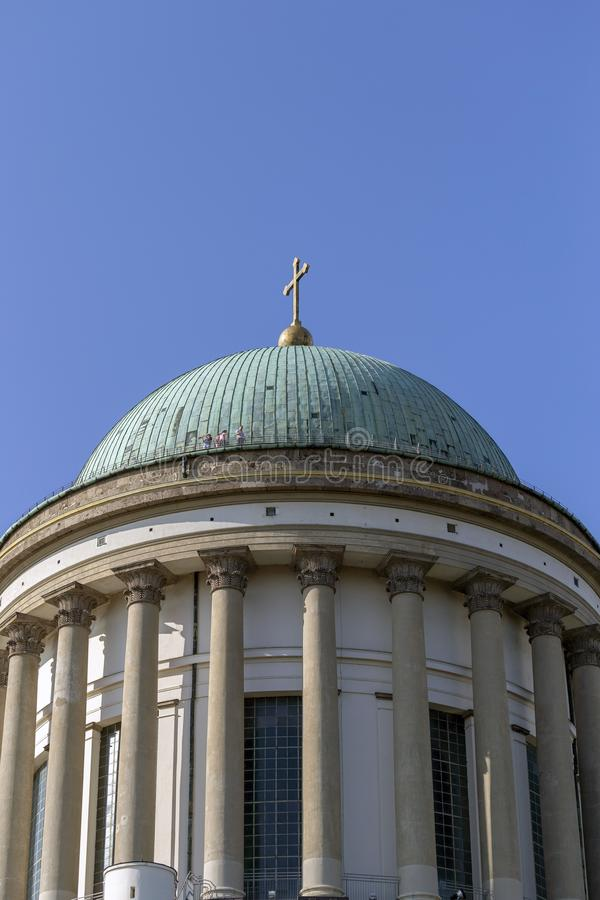 Esztergom Basilica in Hungary on a hot summer day.  stock image