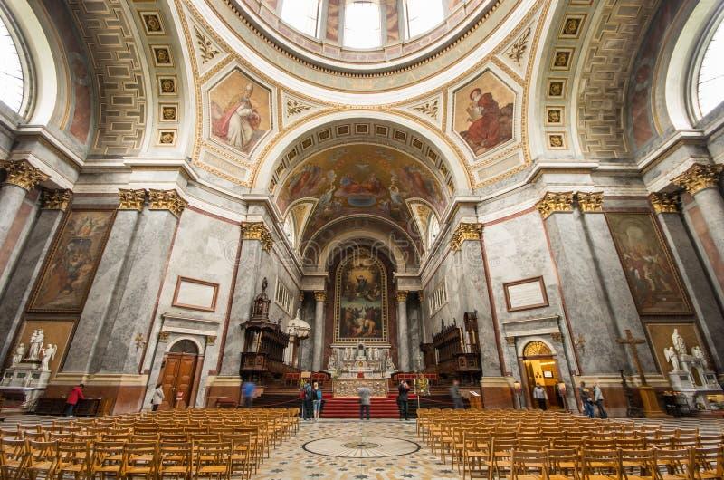 Esztergom Basilica interior. ESZTERGOM / HUNGARY - APRIL 16: Interior of Esztergom basilica on April 16, 2014 in Eger/Hungary royalty free stock image