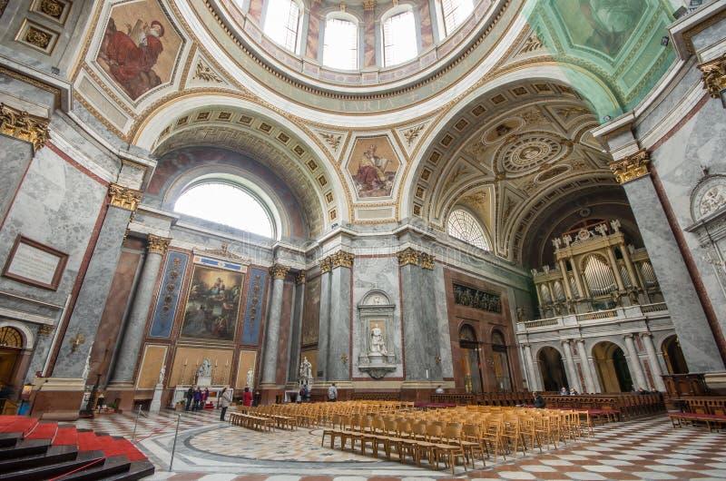 Esztergom Basilica interior. ESZTERGOM / HUNGARY - APRIL 16: Interior of Esztergom basilica on April 16, 2014 in Eger/Hungary royalty free stock photography
