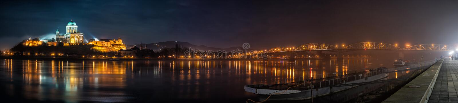 Esztergom basilica and Maria Valeria bridge, Hungary stock photos