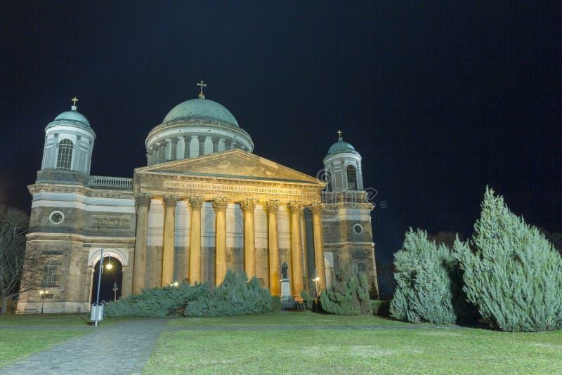 Esztergom Basilica. The Esztergom Basilica on a winter night in Hungary royalty free stock photo