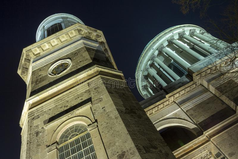 Esztergom Basilica. The Esztergom Basilica on a winter night in Hungary stock image