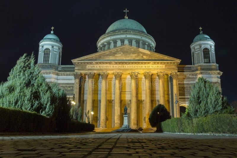 Esztergom Basilica. The Esztergom Basilica on a winter night in Hungary royalty free stock image