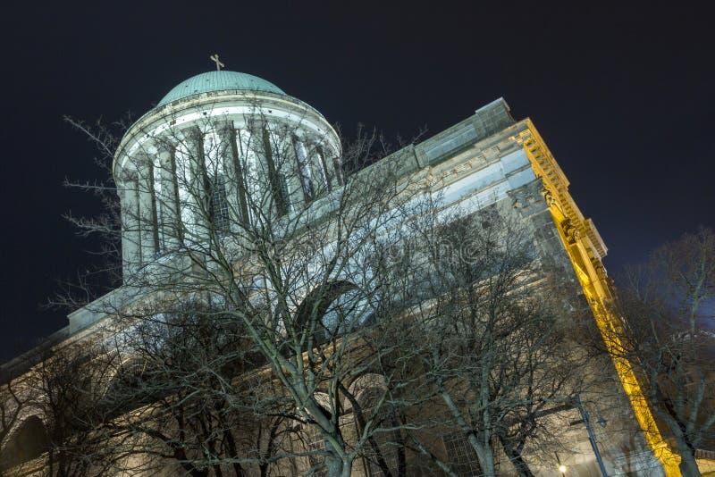 Esztergom Basilica. The Esztergom Basilica on a winter night in Hungary stock images