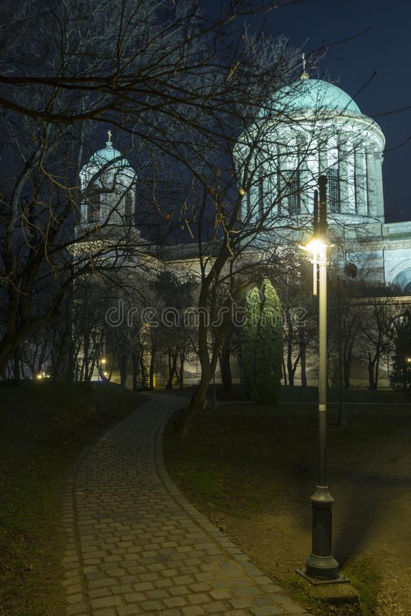Esztergom Basilica. The Esztergom Basilica on a winter night in Hungary stock photography