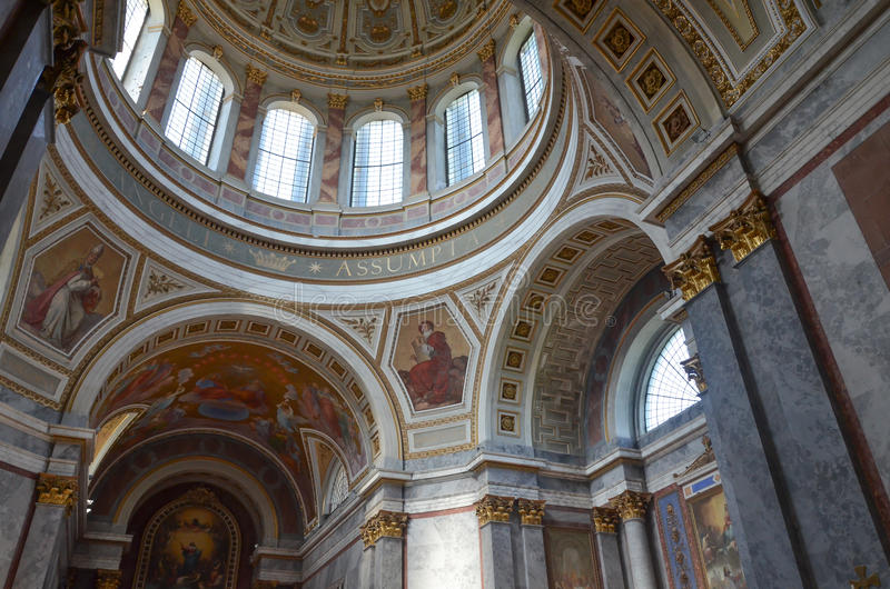 Esztergom cathedral. Indoor view in esztergom cathedral royalty free stock images