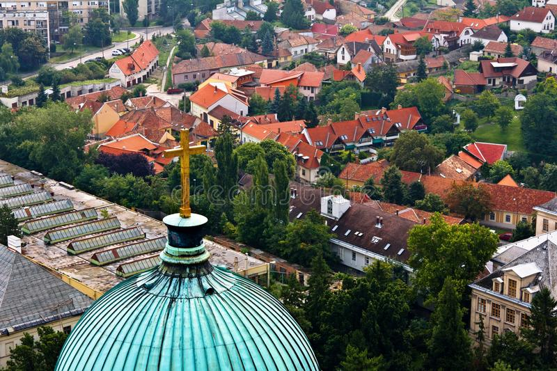 Esztergom Church Dome and Town. Dome of the Basilica of Esztergom in Hungary and the town behind it stock images