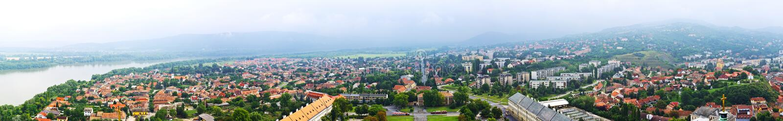 Esztergom Panoramic. Huge panoramic of famous town Esztergom and the Danube River in Hungary stock photos