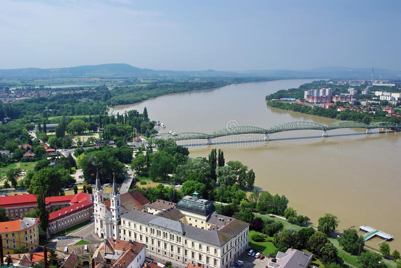 Esztergom view. Esztergom, Danube river and a small part from Slovakia stock images