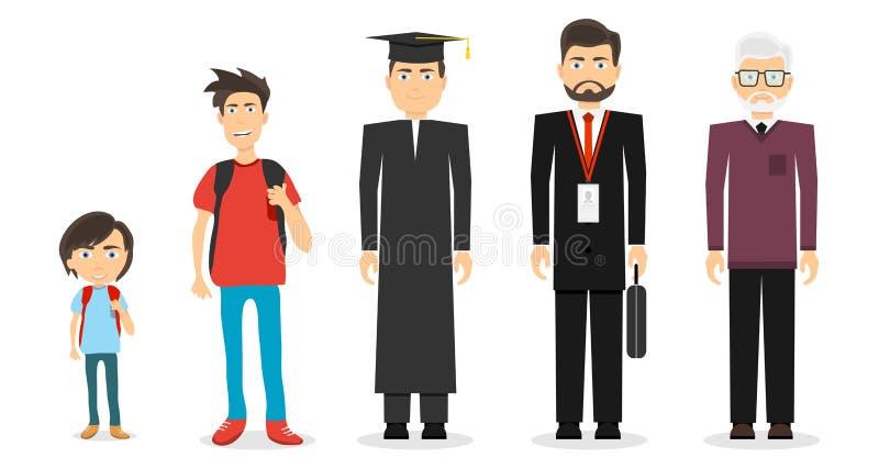 Età dell'uomo Un ragazzo, un adolescente, uno studente, un uomo maturo, un uomo anziano illustrazione vettoriale