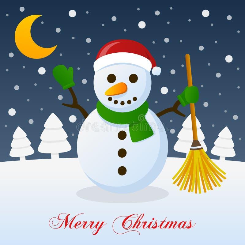 Et ainsi c'est Noël - bonhomme de neige heureux illustration libre de droits